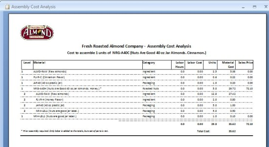 Free ABC Inventory Software: Bill of Materials: Assembly Cost Analysis report